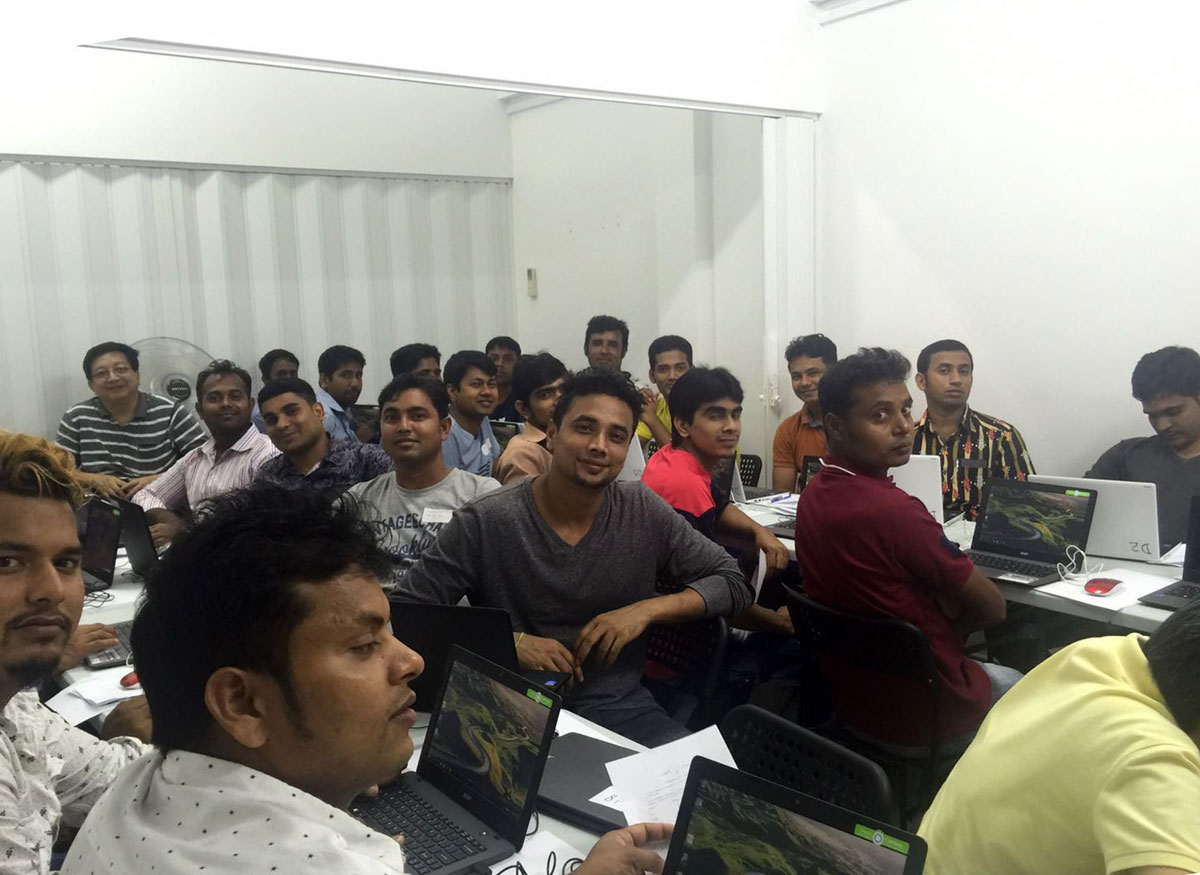 Bangladeshis in a computer lesson